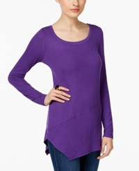 Inc International Concepts Ribbed Asymmetrical Tunic Only At Macy's Vivid Purple