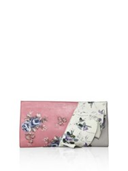 Alexander Mcqueen Ruffled Floral Leather Clutch Pink Floral