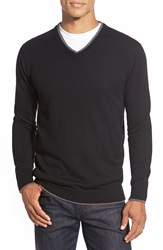 Bugatchi Tipped Merino Wool V Neck Sweater Black