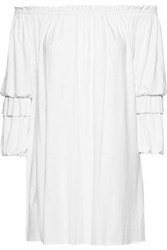 Bailey 44 Woman Blue Blood Off The Shoulder Gathered Stretch Jersey Mini Dress White