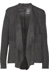 Majestic Draped Brushed Cotton And Cashmere Blend Cardigan Gray