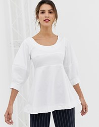 Closet Volant Shell Top With Big Sleeves White