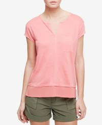 Sanctuary Short Sleeve Layered Look Top Strawberry