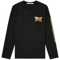 Calvin Klein Long Sleeve Modernist Flag Print Tee Black