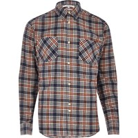 Bellfield River Island Mens Red Casual Check Flannel Shirt