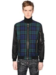 Dsquared Plaid Wool Flannel And Nylon Bomber Jacket