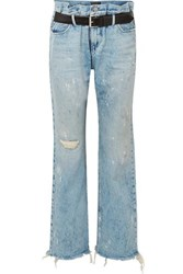 Rta Dexter Belted Distressed High Rise Straight Leg Jeans Light Denim