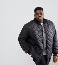Loyalty And Faith Plus Quilted Zip Thru Bomber Jacket Black