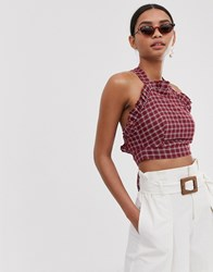 Fashion Union Ruffle Front Crop Top With Cross Back In Check Red