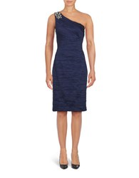 Eliza J Solid Ruched One Shoulder Sheath Dress Midnight