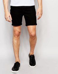 Only And Sons Denim Shorts In Slim Fit With Turn Up Black