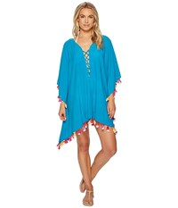 Bindya Double Tassel Lace Up Tunic Teal Blouse Blue