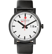 Mondaine Evo Big Steel And Leather Watch Black