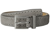 Cole Haan 32Mm Feather Edge Stitched Strap With Perforated Detail Ironstone Men's Belts Gray