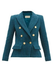 Alexandre Vauthier Double Breasted Tweed Jacket Blue