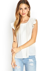 Forever 21 Pleated Ruffle Blouse Cream