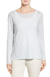 Eileen Fisher Women's Bateau Neck Organic Linen Sweater Rain