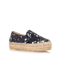 Kurt Geiger Milo Flat Slip On Platform Espadrilles Multi Coloured