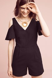 Anthropologie Open Shoulder Ruffle Romper Black