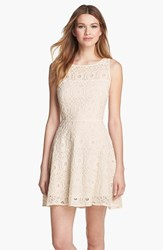 Women's Bb Dakota 'Renley' Lace Fit And Flare Dress Ivory