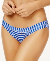 Hanky Panky Brenton Striped Brazilian Lace Bikini 2V2105 Blue White