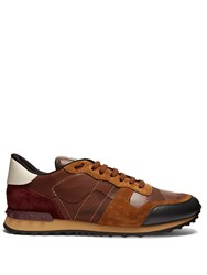 Valentino Rockrunner Leather And Suede Low Top Trainers Brown Multi