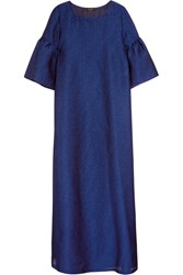 Reem Acra Pebbled Crepe Gown Royal Blue
