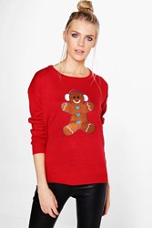 Boohoo Daisy Gingerbread Man Applique Christmas Jumper Red