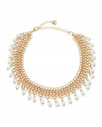 Lydell Nyc Chain Link Choker Necklace W Pearly Drops White