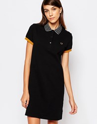 Fred Perry Window Pane Collar Pique Dress Black