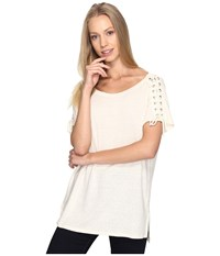 Nydj Greenwich Lace Up Sleeve Tee Natural Women's T Shirt Beige