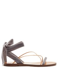 Valentino Velvet Flat Sandals Light Grey