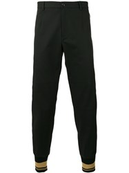 Dolce And Gabbana Contrast Piped Trousers Men Cotton Calf Leather Polyamide Spandex Elastane 52 Black