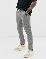 Native Youth Tie Waist Trouser With Check In Grey