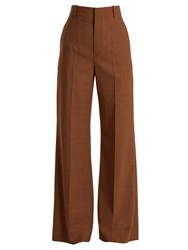Chloe Checked Wide Leg Twill Trousers Red Multi