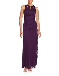 Betsy And Adam Ruffled Cutout Gown Plum