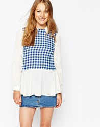 Jovonna Shirt With Gingham Panel Multi