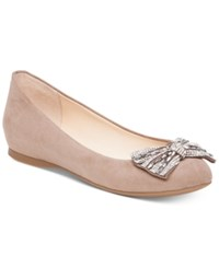 Jessica Simpson Movey Embellished Bow Ballet Flats Women's Shoes Warm Taupe