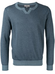 Canali Round Neck Sweater Blue
