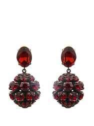 Marni Crystal Sphere Shaped Drop Earrings Red