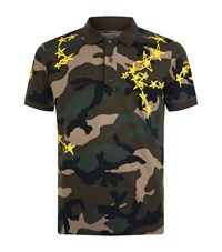 Valentino Star Camouflage Polo Shirt Grey