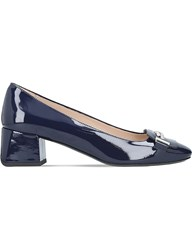 Tod's Doppia Patent Leather Block Heels Navy