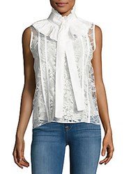 Oscar De La Renta Sleeveless Ruffled Top Ivory