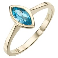 A B Davis 9Ct Gold Marquise Cut Rubover Ring Blue Topaz