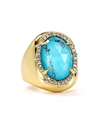 Alexis Bittar Encased Stone Cocktail Ring Blue Gold