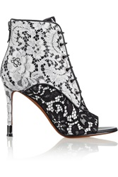Givenchy Lace On Black And White Leather Ankle Boots