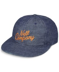Neff Men's Two Point Oh Cotton Embroidered Logo Cap Denim