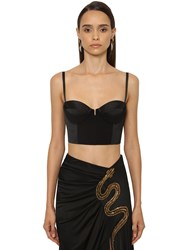 Roberto Cavalli Crepe And Stretch Viscose Bustier Top Black