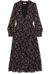 Michael Michael Kors Ruffled Floral Print Chiffon Wrap Dress Black