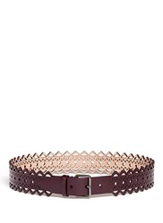 Azzedine Alaia 'Vienne' Perforated Leather Belt Purple